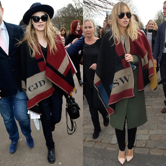 Cara Delevingne in Burberry Monogrammed Poncho