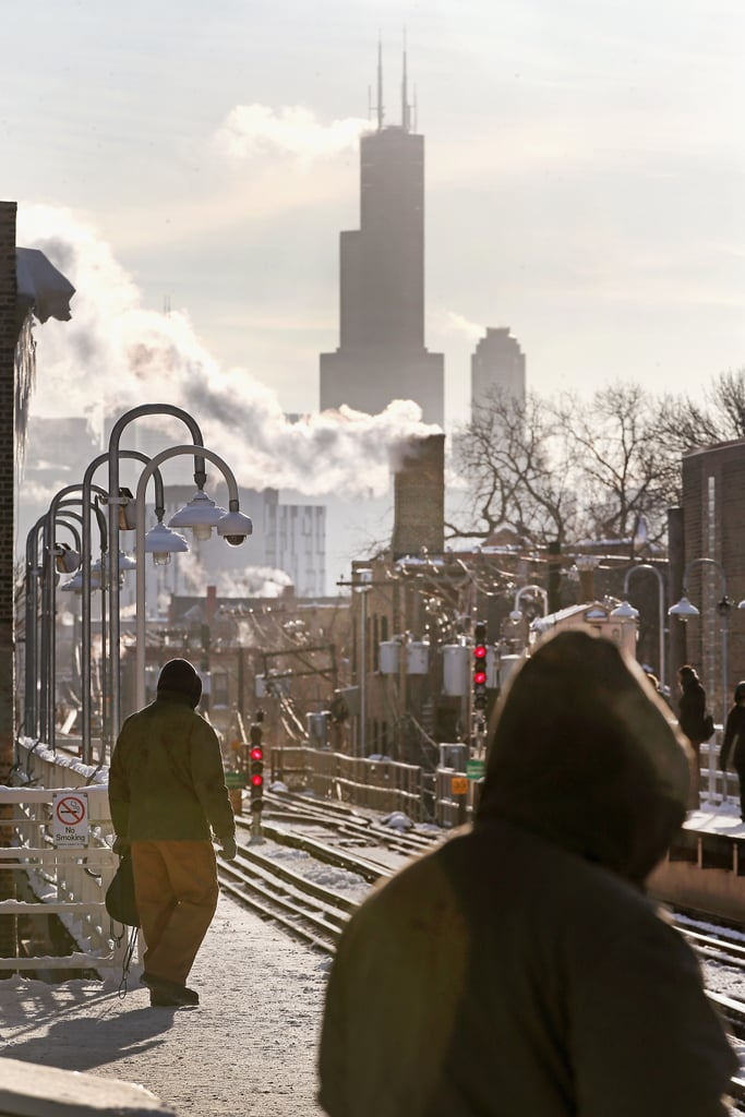 Chilly passengers waited for the L train in Chicago.