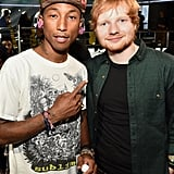 Pharrell Williams and Ed Sheeran ran into each other during Grammys rehearsals.