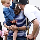 What's cuter than George playing with William's polo hat?