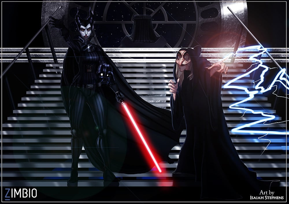 Maleficent and the Evil Queen (Incognito) as Darth Vader and the Emperor