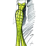 A Sketch of Michelle Obama's Custom Schiaparelli Haute Couture Gown