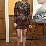 Kristen Stewart showed a little leg at the Camp X-Ray premiere in NYC on Monday.