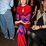 Nicola Roberts wore a red maxi at Moschino Cheap & Chic.