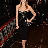 Olivia Wilde wore a black leather dress at the Guys Choice Awards.