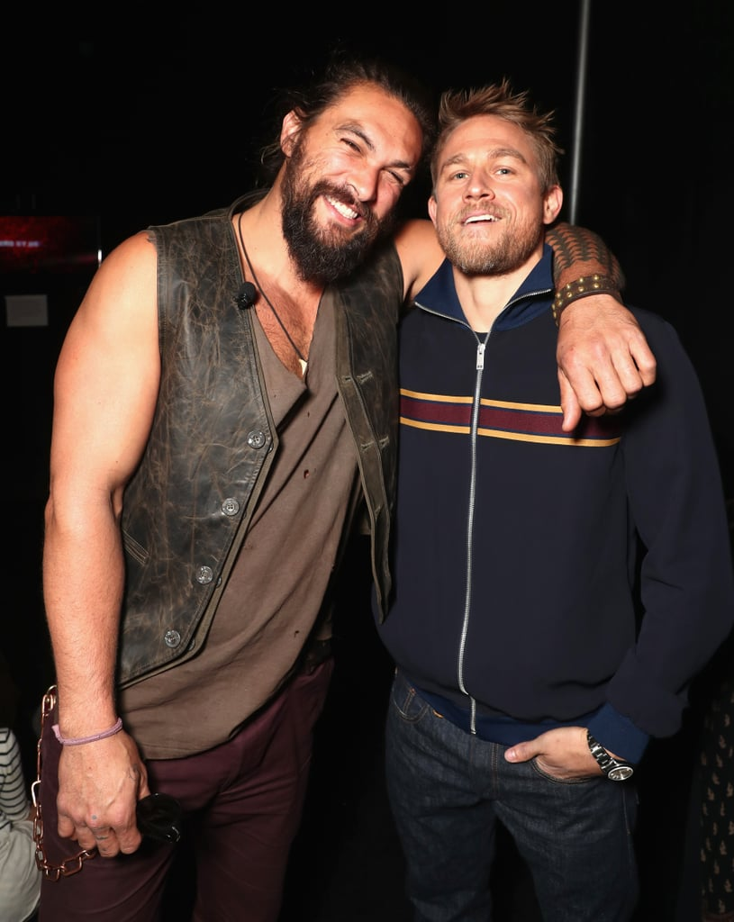 """After spending an """"epic weekend"""" with his family, Jason Momoa got back to work on Wednesday when he stepped out for CinemaCon in Las Vegas. The actor, who was on hand to promote Justice League, made the most out of his time at the event, laughing up a storm with his costars and posing for pictures backstage. While there, Jason also made dreams come true when he bumped into Charlie Hunnam, and oh, to be a fly on the wall. Between Ryan Gosling's meetup with Jon Hamm and Jason's moment with Charlie, how has The Colosseum at Caesars Palace not caught fire yet?"""