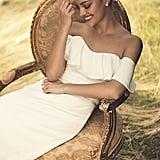 Pearl Trimmed Off-the-Shoulder Wedding Dress