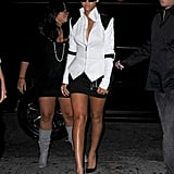 Working a geometric-cut colour-block Gareth Pugh jacket, black mini-skirt, and futuristic shades, the princess of pop channeled the prince of pop for a 2009 NYC outing.