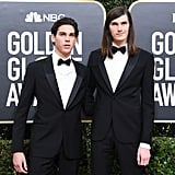 Paris and Dylan Brosnan at the Golden Globes 2020