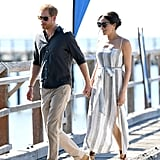 Meghan also showed off a breezy striped Reformation dress with sandals while visiting Fraser Island in Australia.