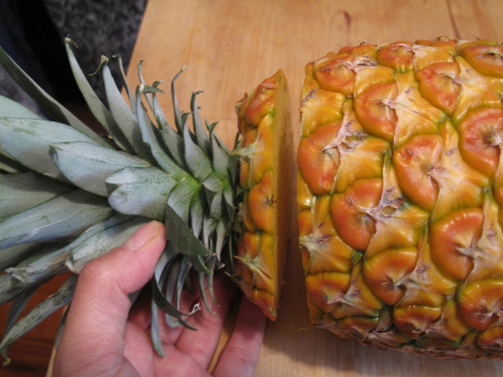 Start with a flat-topped pineapple that's had its leaves lopped off.