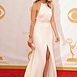 Taylor Schilling walked the red carpet in a white Thakoon gown at the 2013 Emmy Awards.