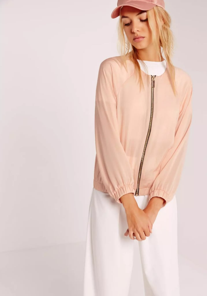 Missguided Satin Zip Through Bomber Jacket