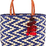 Nannacay Natural & Blue Straw Madagascar Tote