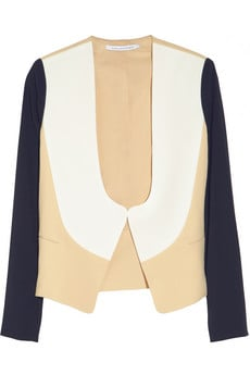 Diane von Fursentberg's colorblocked crepe-jersey jacket ($365) makes it easy to refresh your workwear — just add it to your favorite pencil skirt or trousers at the office, or use it to dress up jeans and a white tee on weekends.