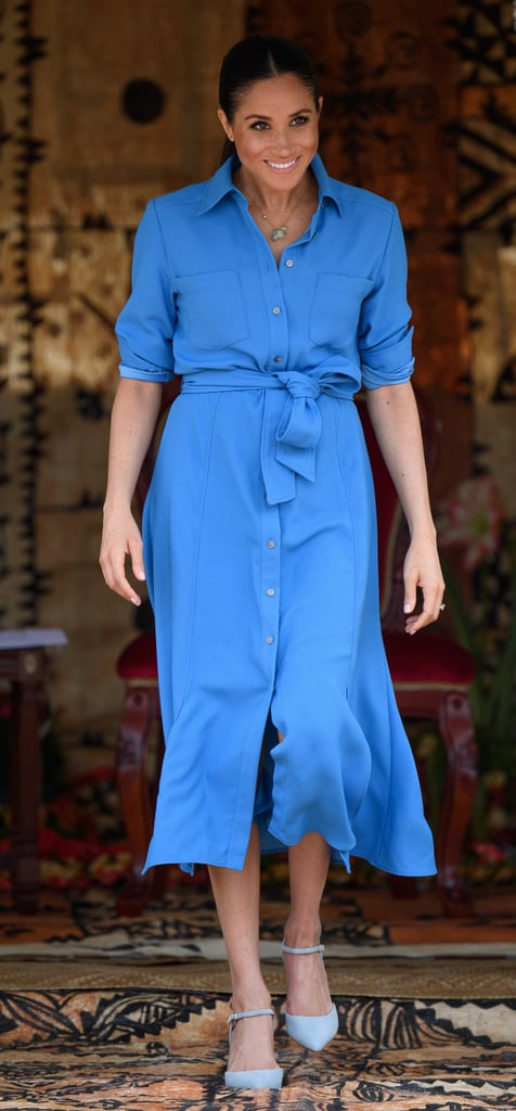 A Blue Silk Shirtdress in Tonga in October 2018