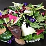 Edible Flower Salad With Grapefruit and Watermelon Radish