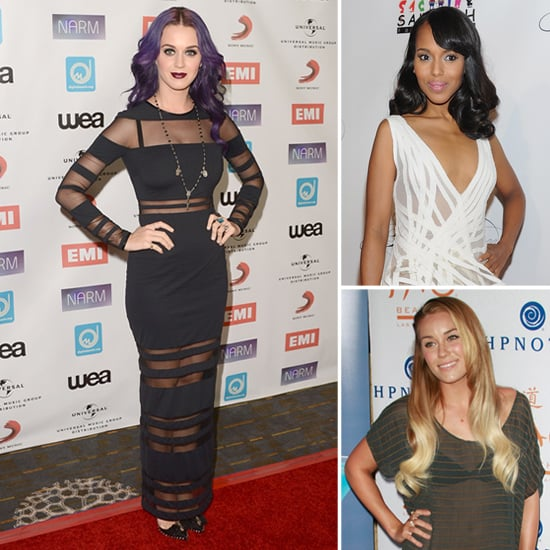 Celebs in Sheer Striped Dresses
