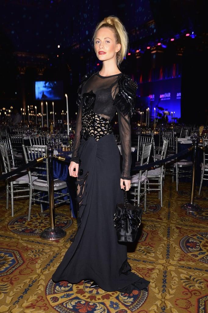 Poppy Delevingne, wearing Louis Vuitton, at amfAR's New York Gala.