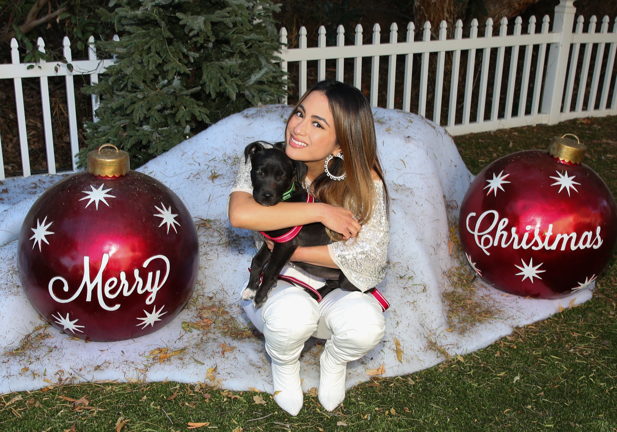 UNIVERSAL CITY, CALIFORNIA - DECEMBER 04: Singer Ally Brooke poses with a rescue dog on the set of Hallmark Channel's