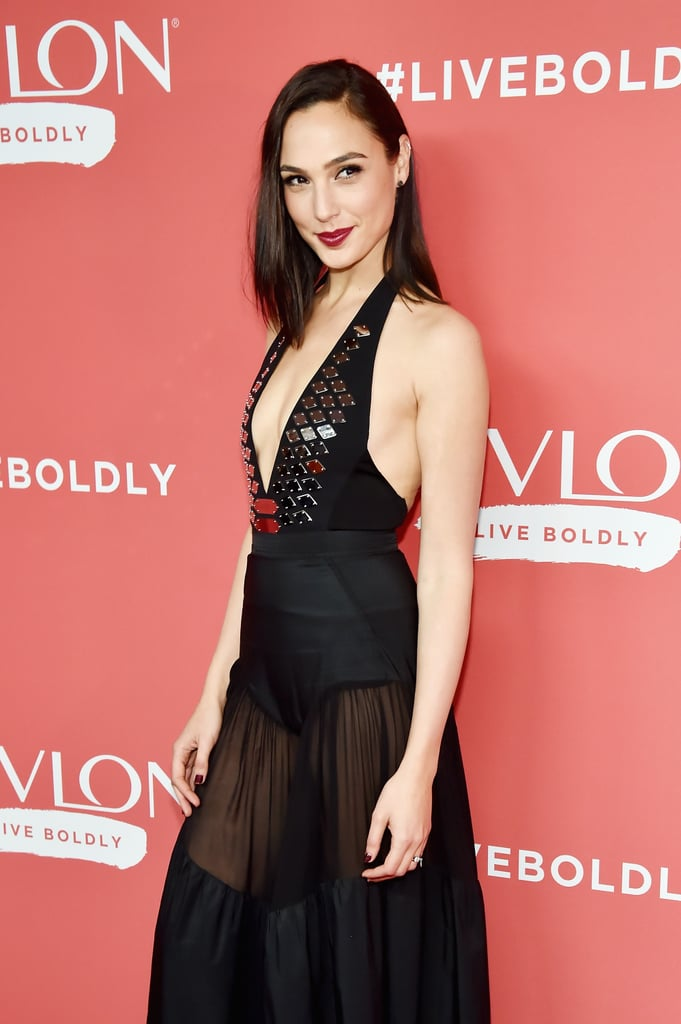 Gal Gadot Wearing Sheer Black Dress