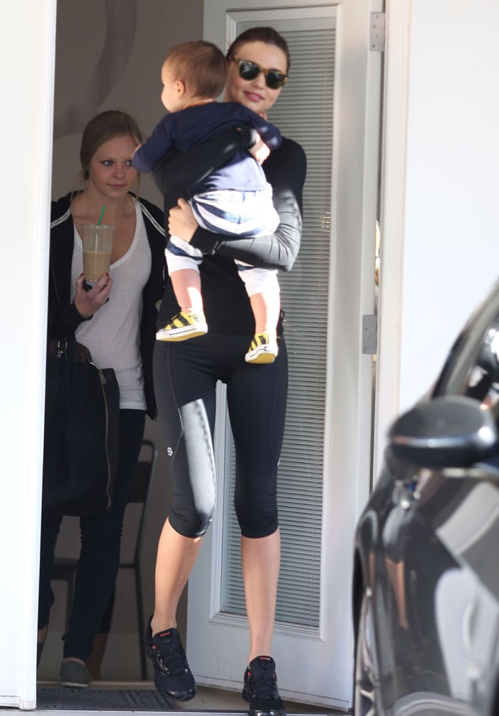 Miranda Kerr carried her son Flynn out of yoga class in LA Saturday. The duo were back to breaking a sweat over the weekend after being spotted post-workout multiple times last week. Miranda has said that Flynn knows a few yoga moves, and it looks like he may be building up his skills with frequent gym visits. His mom is a regular on the fitness scene and most recently showed off her athletic form in new ads. Miranda posed for Reebok, flaunting her abs in sexy spandex outfits. She had Flynn by her side for another shoot though, when they were photographed for the cover of WHO's Most Beautiful People issue.