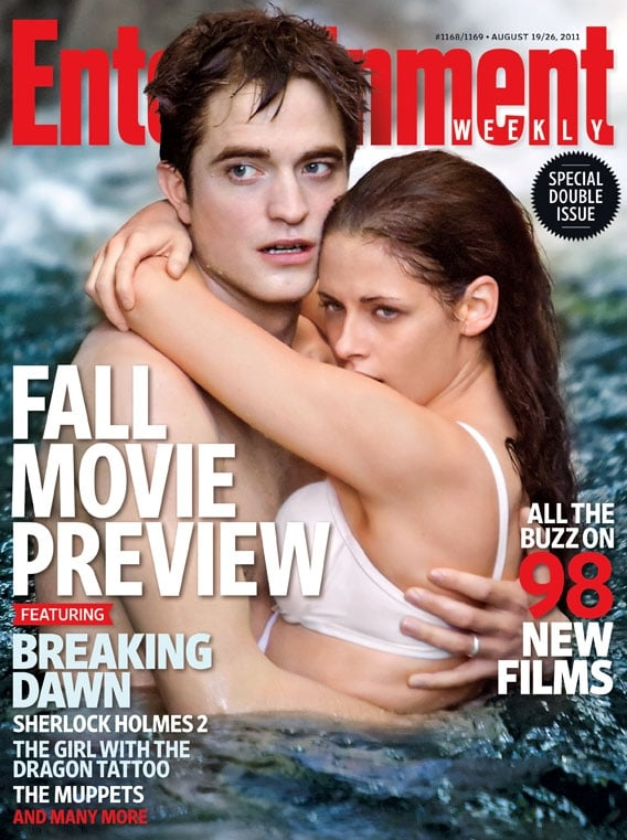 "Kristen Stewart and Robert Pattinson cover the new EW this week! The duo, who star in the upcoming first installment of Breaking Dawn, spoke about how weird it was to have the Twilight series finally come to a close. Both Kristen and Robert touched on their respective characters, Bella Swan and Edward Cullen, as well as the postmarital sex scene they'll soon bring to the big screen. Robert also had some frank words for the conduct of Edward throughout the series. They said:  Kristen on the end of Twilight: ""It's just so strange, I can't get over it."" Kristen on the wedding scenes: ""It's a trip to watch the wedding scenes especially. It was so volatile and emotional — I was being such a crazy person."" Robert on how Edward rips apart a pillow in a passionate moment: ""I wanted to have it as a line so much, 'I bit through all the pillows. Every. Single. One.' And then [Edward would] start crying. By the way, that's what he should be ashamed of in the morning. All those beautiful pillows! Egyptian cotton! 'I ruined this bed!'"" Robert on how Edward and Bella discover her pregnancy: ""They shock each other. For a saga which is about eternal, undying love that nothing can touch, suddenly . . . Kristen interjects: ""There's one thing that can. That was fun to play. Bella's always liked him and liked everything he said and thought; everything he did was right. This is something that she clearly disagrees with. She doesn't mindlessly and blindly follow him. She was always kind of defiant. I like that."" Robert frankly assessing Edward's character: ""Look, there are a lot of moments when Edward sort of acts like a p*ssy. I mean, throughout the whole series."""