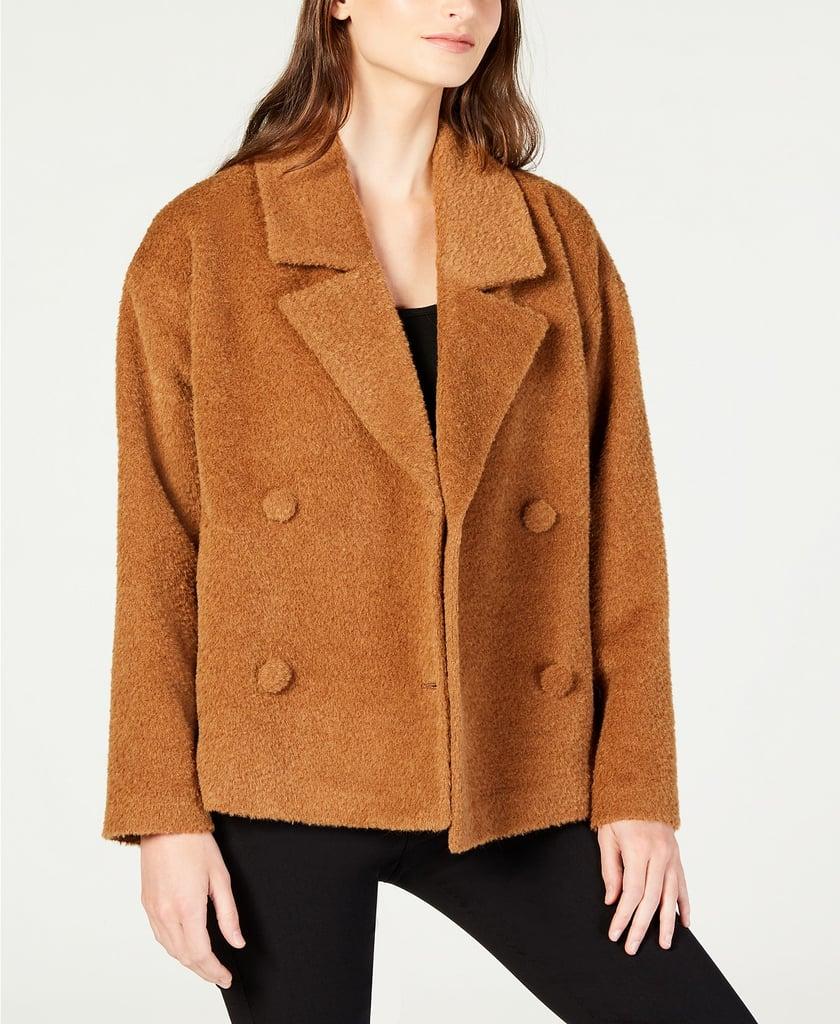 Eileen Fisher Wool Notched-Collar Short Jacket