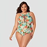Plus-Size Slimming Control High Neck One-Piece Swimsuit