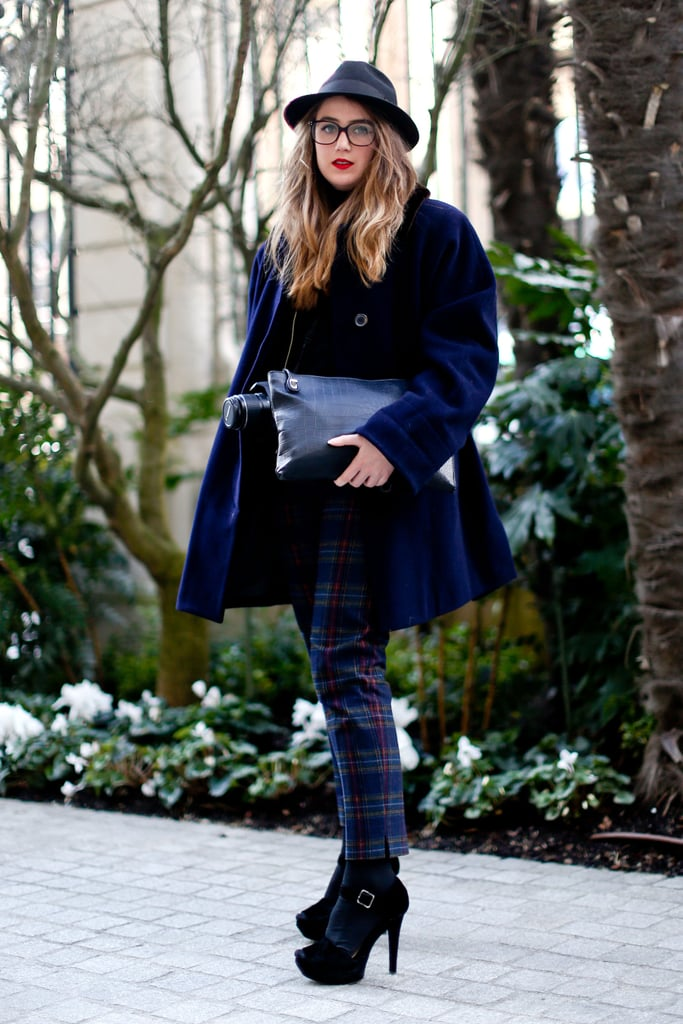 Prep-school cool, thanks to plaid pants and geeky specs.