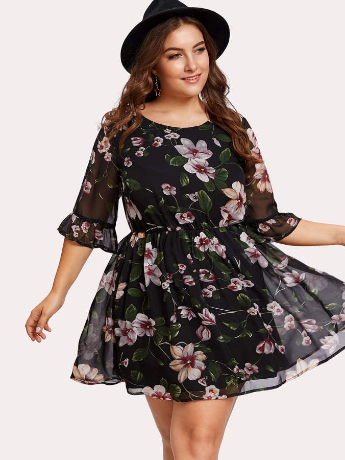 romwe trumpet sleeve floral dress  best plussize floral