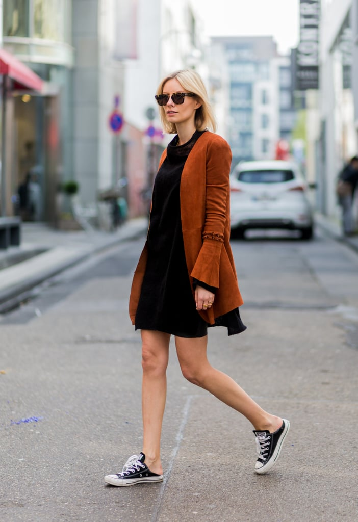 With a Black Dress and a Suede Jacket | How to Wear Converse ...