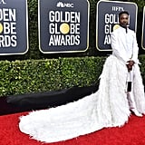 Billy Porter White Feather Suit at the Golden Globes 2020