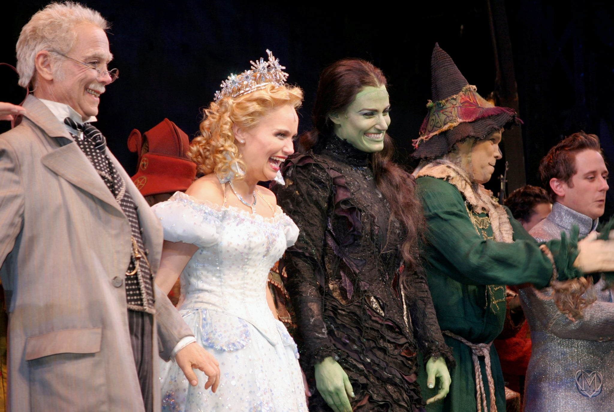 Joel Grey, Kristin Chenoweth and Idina Menzel at curtain call (Photo by Bruce Glikas/FilmMagic)