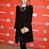 Emma Roberts in all black with statement jewels last year.