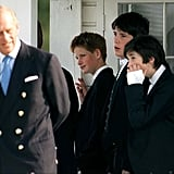 At the Eton Boys Tea Party in Windsor in June 1999, a 14-year-old Harry looked proudly at his grandfather.