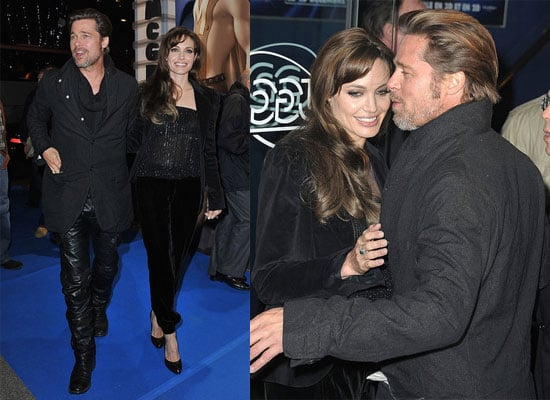 Brad Pitt and Rocks Leather Pants with Angelina Jolie at Megamind Premiere in Paris