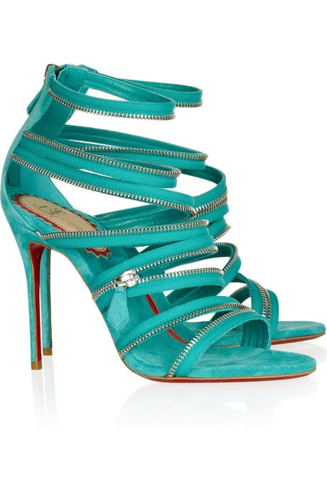 Christian Louboutin 20th Anniversary Unzip Booty 100 Suede Sandals ($1,595)