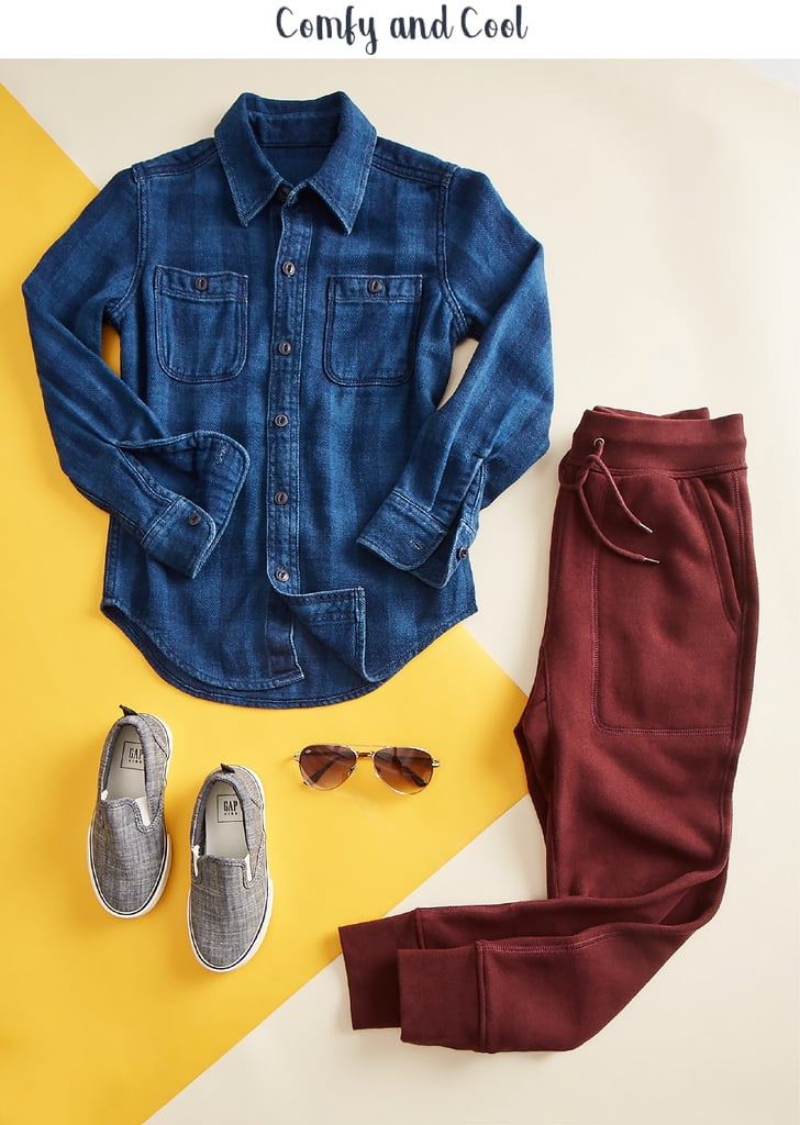 The button-down Buffalo plaid denim shirt ($34.95) tops fleece joggers ($29.95) for the perfect put-together, easy look that goes from classroom to playground. Add solid slip-on sneakers ($34.95) and a signature pair of shades ($14.95) for just the right vibe. Confidence-boosting tip: Give your kids a few regular chores. The feeling of being useful and valuable within the family adds to their self-worth.