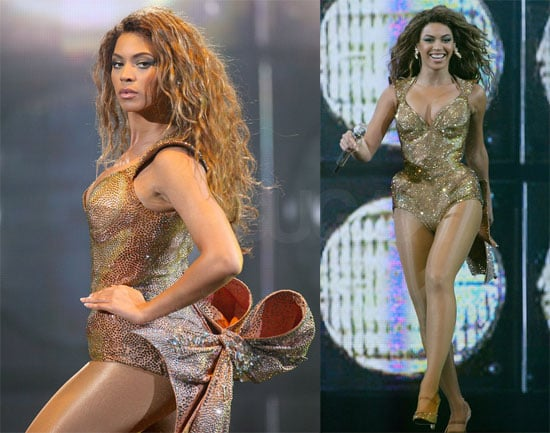 Photos of Beyonce Knowles Performing in Paris with Gold Bow Thierry Mugler Outfit