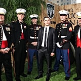 Zac Efron posed with U.S. Marines at The Lucky One premiere in LA.