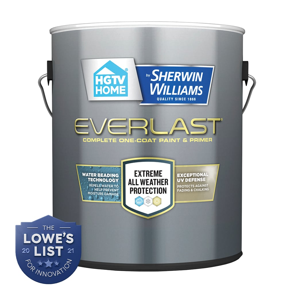 Everlast™ paint is available in dozens of colors and three finishes — flat, semi-gloss, and satin — so there's an option for every style. Whether you just want to touch up your trim or completely repaint the entire house, you can feel confident your home will look beautiful for years to come.  HGTV Home® by Sherwin-Williams Everlast™ Paint and Primer ($26)