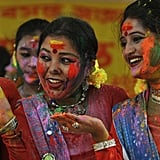 Girls were a colorful sight in Siliguri, India.