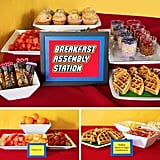 """The rest of the food stations that were set up throughout the week also had cute Lego printables and were laid out so the foods could be """"constructed"""" like Lego masterpieces."""