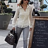 Pippa Middleton in a chiffon blouse.