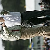In February 2005, Bill Murray and Chris O'Donnell lined up a shot at the Pebble Beach Golf Links in California.