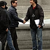 Tom Cruise was greeted on his All You Need Is Kill set in London.
