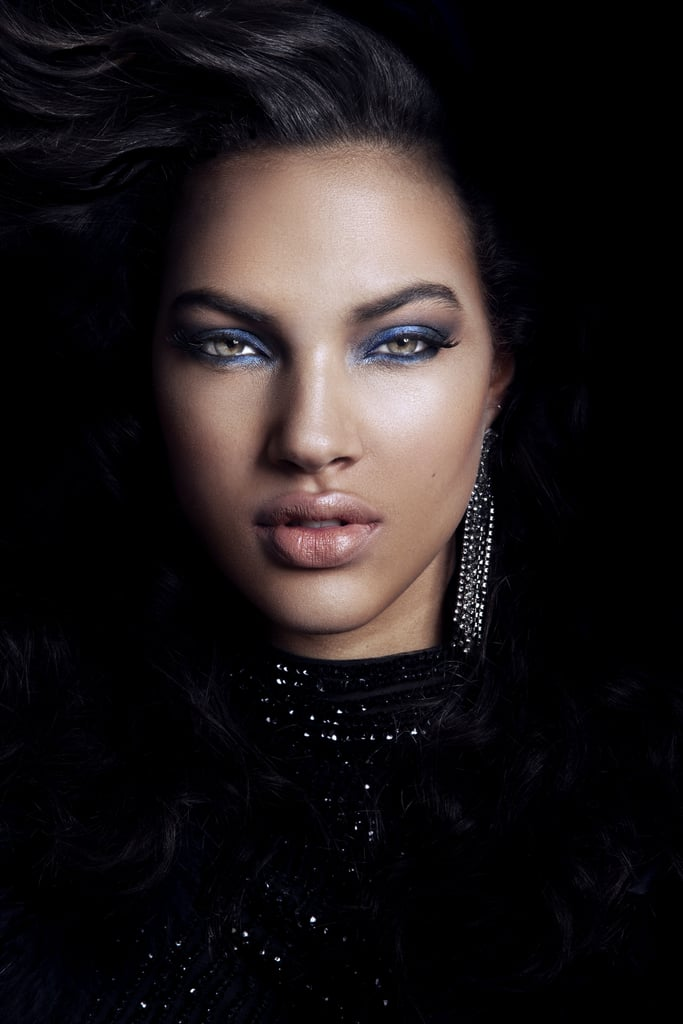 The Look: Sapphire-Blue Smoky Eyes and a Neutral Lip