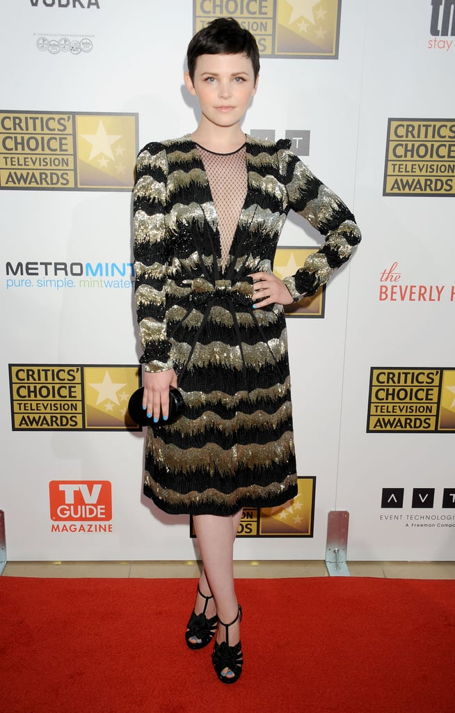 Ginnifer Goodwin completed her embellished Viktor & Rolf dress with T-strap Nicholas Kirkwood sandals at the 2012 Critics' Choice Awards in Beverly Hills.