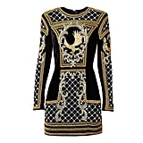 """H&M described its first-seen H&M x Balmain piece: """". . . decorations rich with metallic threads, rhinestones, and pearl embellishments . . ."""""""